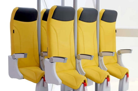 Squeeze up! The latest Skyrider airplane seat still looks really uncomfortable